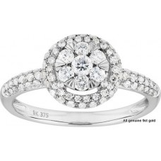 Dome Band Diamond Halo Ring