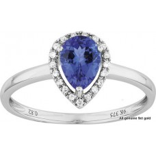 Tanzanite Pair Shape Halo Ring