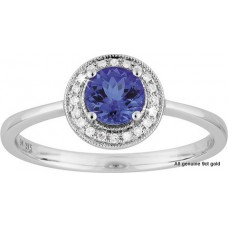 Tanzanite Round Halo Diamonds