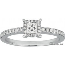 Princess Cut Halo Diamond Ring