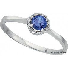 Round Tanzanite Diamond Halo