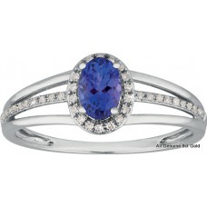 Tanzanite Oval  Halo Three Band