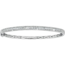 Baguette and Pave Diamond Hinged W/G Bangle