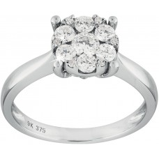 Cluster Solitaire Diamond Ring
