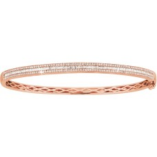 Baguette and Pave Diamond Hinged Rose Gold Bangle