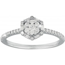 Diamond Cluster Ring and Baguette Halo