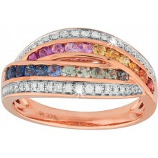 Double Band Multi-Coloured Sapphire Diamond Ring