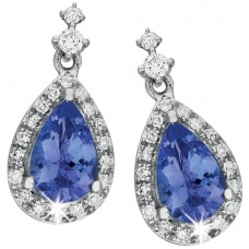 Tanzanite and Diamond Pear Earrings