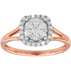Rose Gold Square Halo Ring