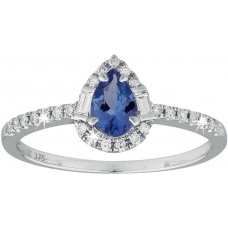 Diamond Tanzanite Pear Shaped Ring