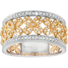 Diamonds Flower Two Tone Ring
