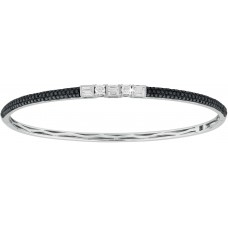Black Diamonds Hinged Bangle
