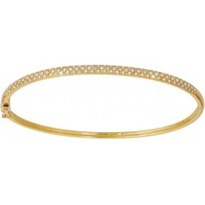 Diamonds Hinged Bangle Y/G