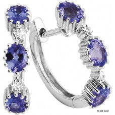 Oval Tanzanite Diamond Huggies