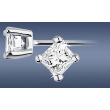 Square 0.30ct Each Diamond Studs