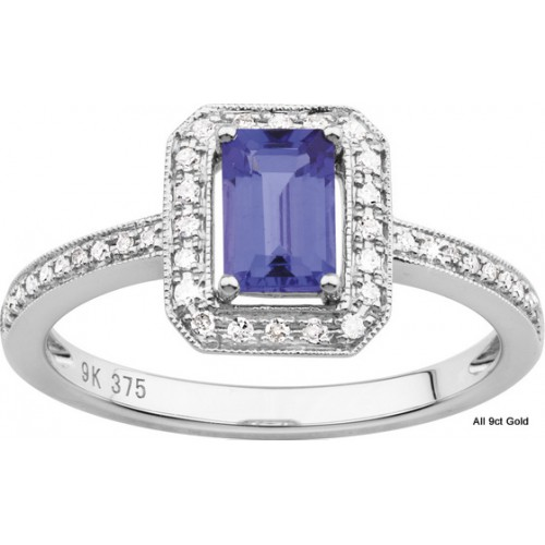 gold cut emerald from fine genuine jewelry in ring dia rings item natural white engagement tanzanite solid